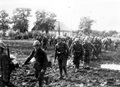 Romanian infantry marching on a mud road