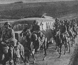 Romanian cavalry marching to the front in Bessarabia. Note the swords